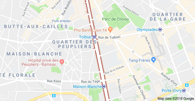 Carte de l'avenue à Paris 13